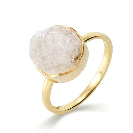 Genuine White Drusy Quartz Round Set Ring | Eve's Addiction®