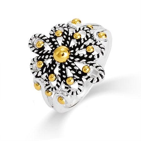 Designer Inspired Cabled Filigree Flower Ring | Eve's Addiction®