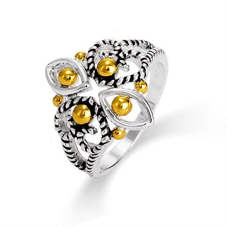 Designer Inspired Cable Filigree Design Two Tone Ring | Eve's Addiction®