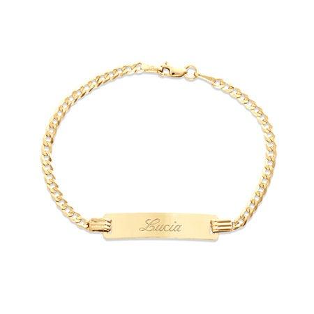 "Kids 14k Gold 6"" Engravable Cuban Link ID Bracelet | Eve's Addiction®"