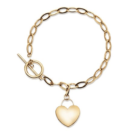 Engravable 14K Gold Heart Tag Bracelet