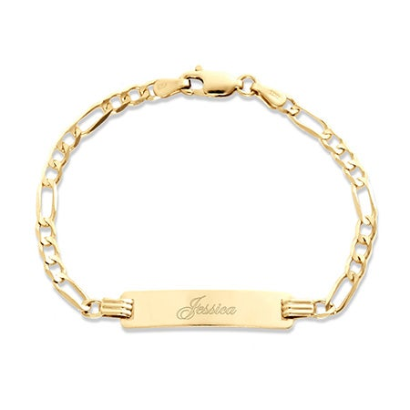 "Kid's 14K Gold 6"" Engravable Figaro ID Bracelet 
