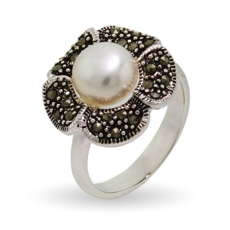 Pretty Pearl Marcasite Flower Ring | Eve's Addiction®
