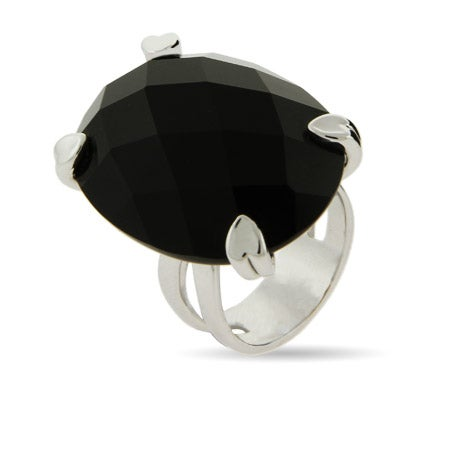Mega Multi Faceted Onyx Ring in Heart Prong Setting | Eve's Addiction®