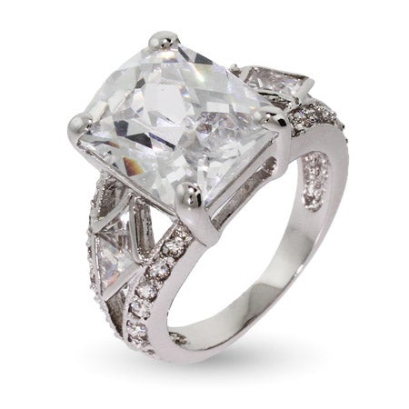 Art Deco Style Multi Faceted Rectangle CZ Ring With Milgrain Edging | Eve's Addiction®