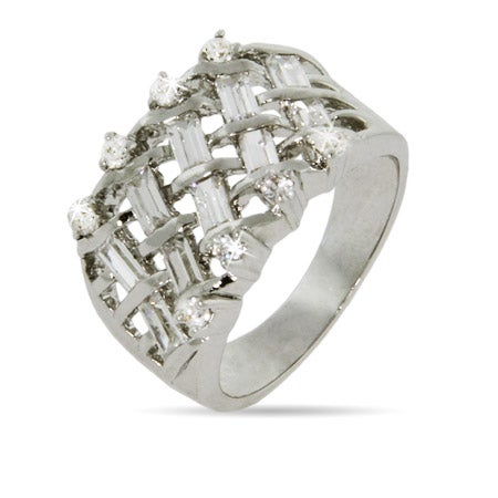 CZ Baguette Basketweave Design Right Hand Ring | Eve's Addiction