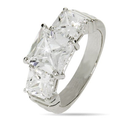 modern style princess cut past present and future ring
