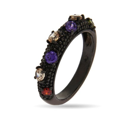 Multi Color CZ Black Rhodium Ring | Eve's Addiction®