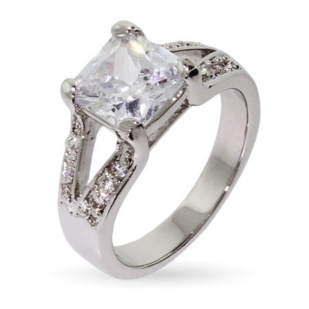 Split Band 3 Carat Princess Cut CZ Engagement Ring | Eve's Addiction®