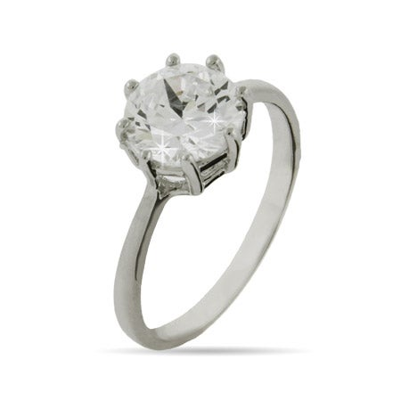 Celebrity Inspired Multi Prong Round Brilliant Cut Engagement Ring | Eve's Addiction®