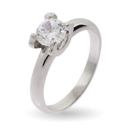 Elegant Simple Round Brilliant Cut CZ Promise Ring | Eve's Addiction®