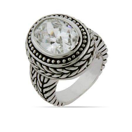 Designer Inspired Oval Diamond CZ Braided Ring | Eve's Addiction®