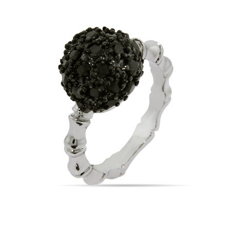 Pave Black CZ Ring with Bamboo Band | Eve's Addiction®