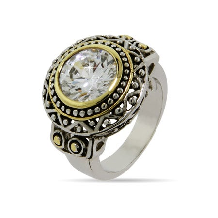 Designer Inspired Round Diamond CZ Bali Style Ring | Eve's Addiction®