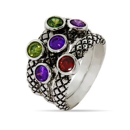 Designer Inspired Multi Color CZ Bali Style Ring Set | Eve's Addiction®