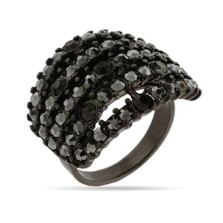 Five Row Smokey Gray Crystal Ring | Eve's Addiction®