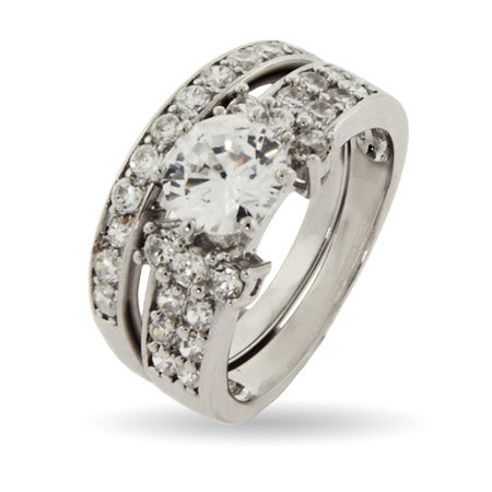 Pave CZ Bridal Set with Brilliant Cut Center Stone | Eve's Addiction®