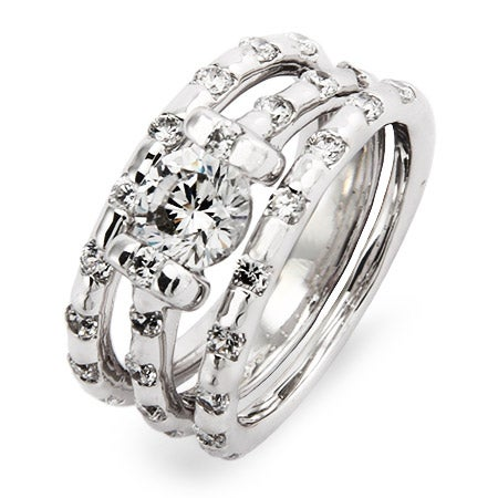 Dazzling Brilliant Cut Wedding Ring Set with CZ Accents | Eve's Addiction®