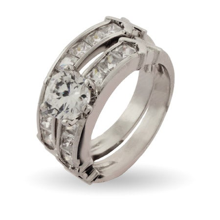 Stunning Channel Set CZ Engagement Ring Set | Eve's Addiction®