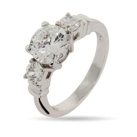 Brilliant Cut Past, Present, and Future Engagement CZ Ring | Eve's Addiction®