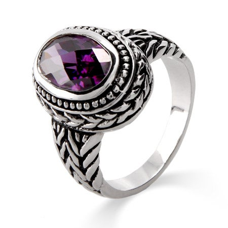 Designer Inspired Oval Cut Amethyst Bali Ring | Eve's Addiction®