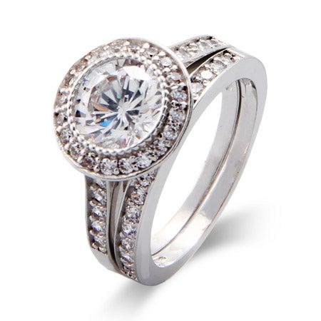 Vintage Round Cut Heirloom CZ Bridal Ring Set | Eve's Addiction®