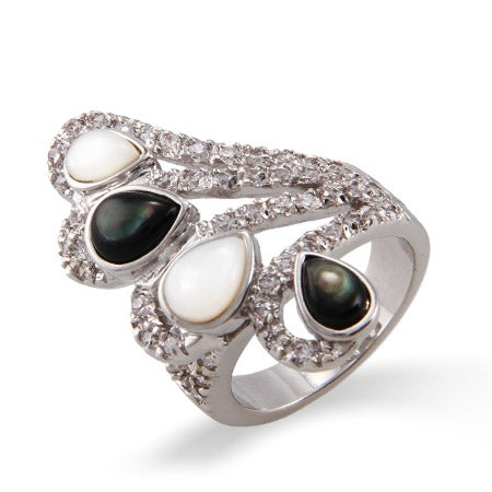 CZ Wing Cocktail Ring with Mother of Pearl | Eve's Addiction®