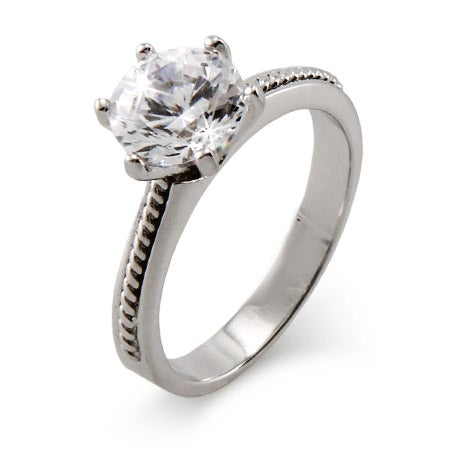2 Carat Brilliant Cut Cubic Zirconia Ring with Detailed Band | Eve's Addiction®
