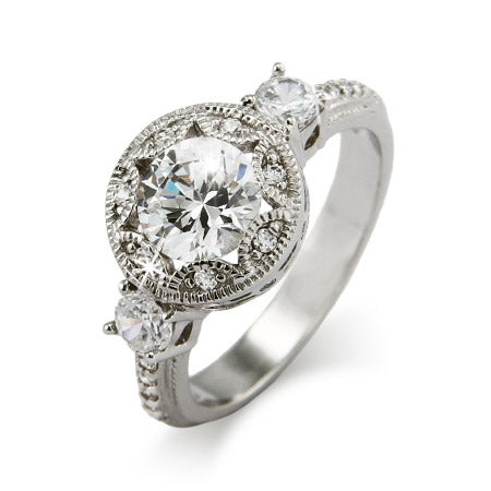 Brilliant Cut CZ Art Deco Engagement Ring | Eve's Addiction®