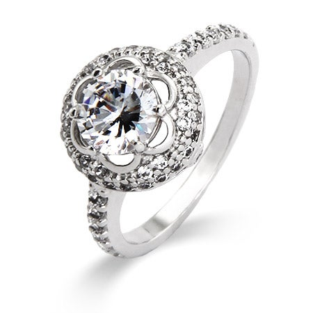 Delicate Flowering Halo CZ Ring | Eve's Addiction®
