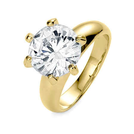 3.5 Carat Brilliant Cut CZ Gold Vermeil Engagement Ring | Eve's Addiction®