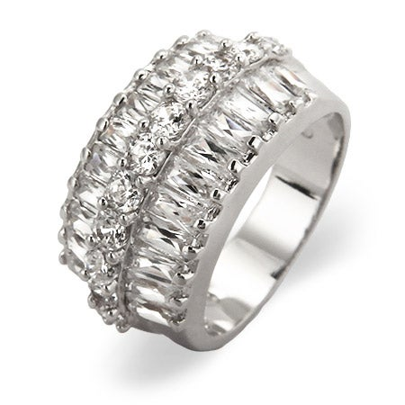 Flashy Baguette and Brilliant Cut CZ Cocktail Ring | Eve's Addiction®