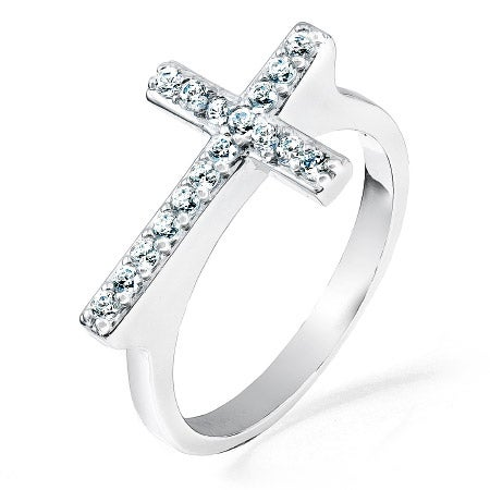 Sideways Cross Ring with Cubic Zirconia | Eve's Addiction®