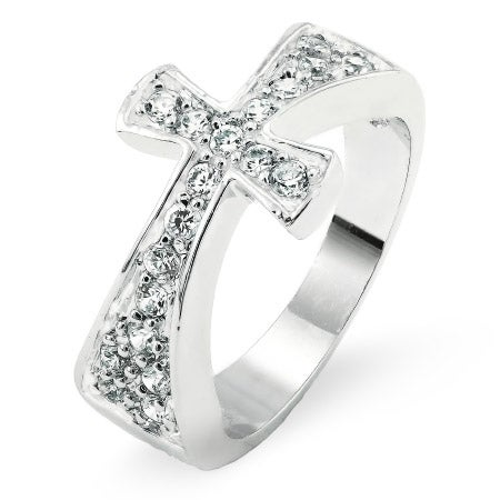 Pave Set CZ Sideways Cross Ring | Eve's Addiction