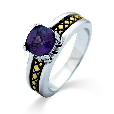 Cable Accent Two Tone Amethyst CZ Designer Inspired Ring | Eve's Addiction®