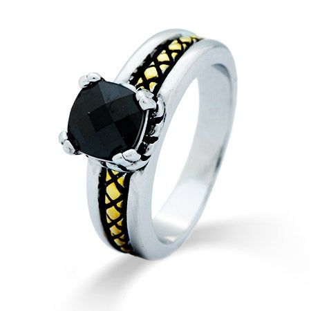 Cable Accent Two Tone Onyx CZ Designer Inspired Ring | Eve's Addiction®