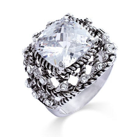 Designer Inspired Woven Cable Cushion Cut CZ Cocktail Ring | Eve's Addiction®