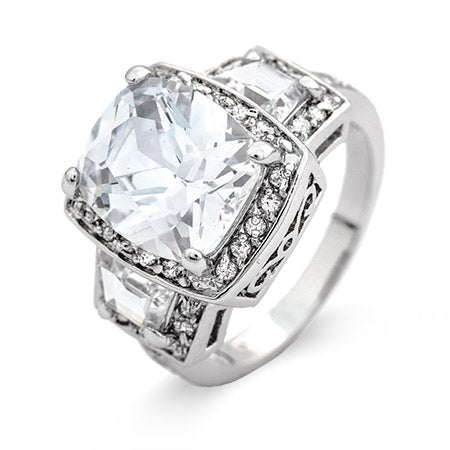 Celebrity Inspired Past Present Future Halo CZ Engagement Ring | Eve's Addiction®