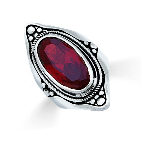 Designer Inspired Renaissance Style Oval Garnet CZ Ring | Eve's Addiction®