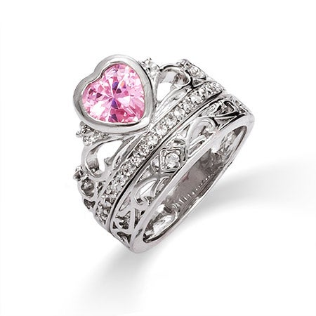 Pink Ice Crown Tiara CZ Ring Set | Eve's Addiction®