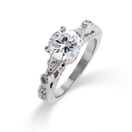 Brilliant Cut CZ Vintage Style Engagement Ring | Eve's Addiction®