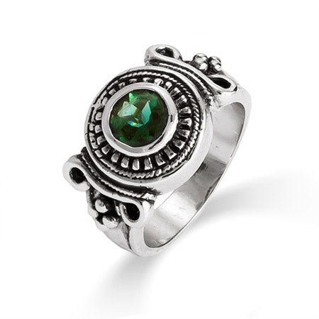 Designer Inspired Vintage Deco Style Emerald CZ Ring | Eve's Addiction®