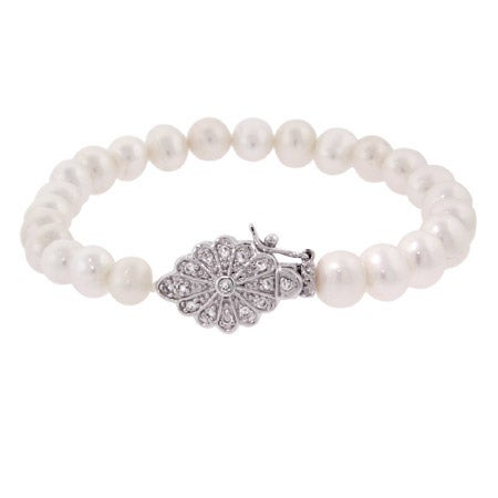 Sterling Silver Pearl Bracelet with Vintage Flower Design | Eve's Addiction®