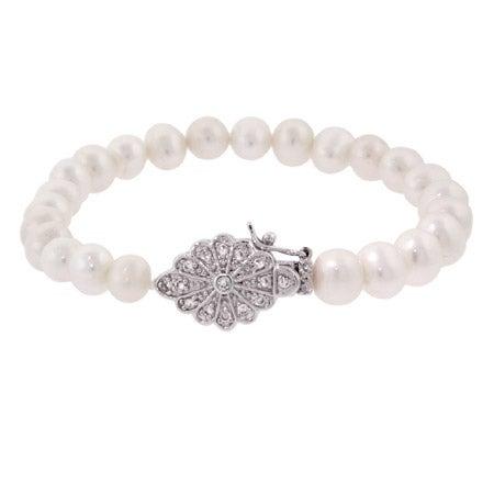 Sterling Silver Pearl Bracelet with Vintage Flower Design | Eve's Addiction®