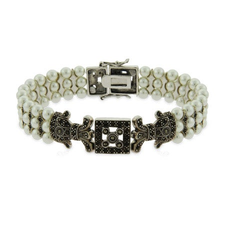 Vintage Style Three Row Pearl and Marcasite Bracelet | Eve's Addiction®