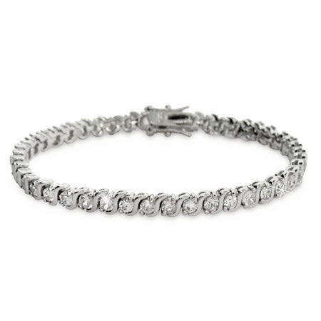 Sterling Silver Cubic Zirconia Single Wave Tennis Bracelet | Eve's Addiction®