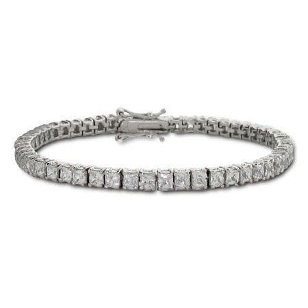 Sterling Silver Princess Cut 3mm Diamond CZ Tennis Bracelet | Eve's Addiction®