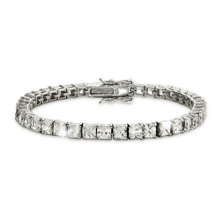 4mm Princess Cut Diamond CZ Tennis Bracelet | Eve's Addiction®