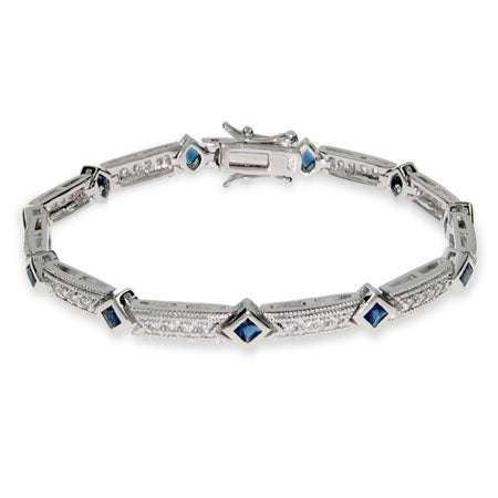 Elegant Sapphire and Diamond CZ Tennis Bracelet | Eve's Addiction®