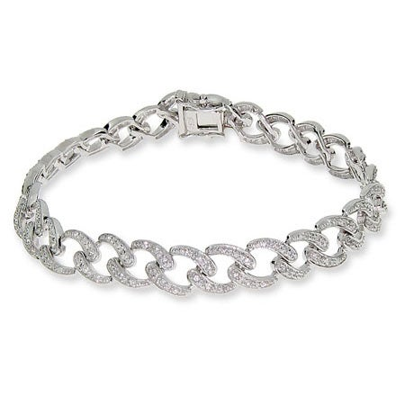 Sterling Silver Pave Woven Link Tennis Bracelet | Eve's Addiction®
